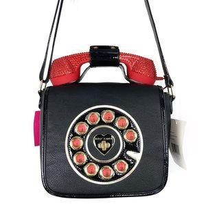 Betsey Johnson Rhinestone Phone Crossbody Bag NWT